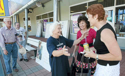 Pauline Hanson greets local supporter Dorothy Briggs yesterday.