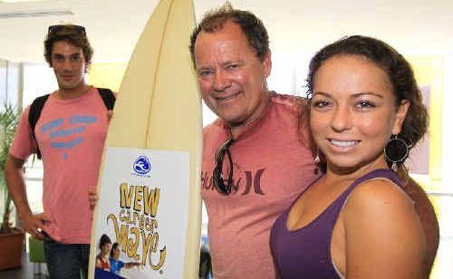 Trystan Mullins and Mia Melamed with 1974 world surfing champion Peter Townend.
