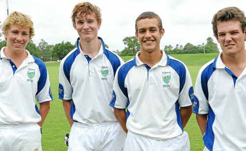 Harwood Cricket Club's young guns (from left) Ben McMahon, Mitchell Johnson, Nathan Essex and Ritchie Tabor. They will contest this weekend's CRCA grand final against Westlawn.