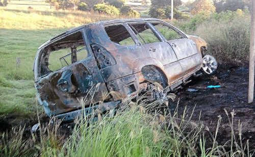 Remains of the vehicle ablaze near Swan Creek on Wednesday night.