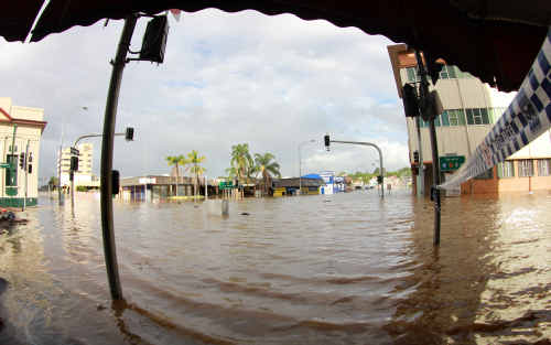 The inundated intersection of Brisbane and East streets in the Ipswich CBD.