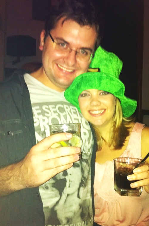 Toowoomba's Beauty and the Geek winner Michael Price has a drink with his new girlfriend Kristy Britt.