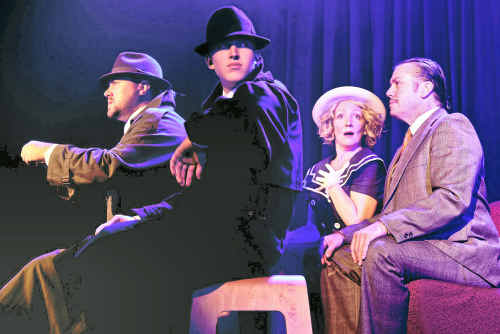 Beck Vincent, Nathan Booth, Belinda Lemair and Michael Smith in The 39 Steps.