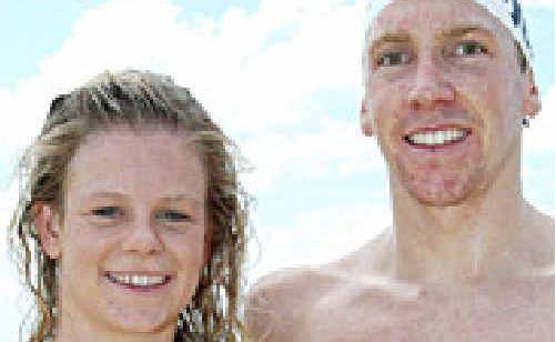 Race winners in yesterday's Mooloolaba Ocean Swim, Danielle DeFrancesco and Trent Grimsey.