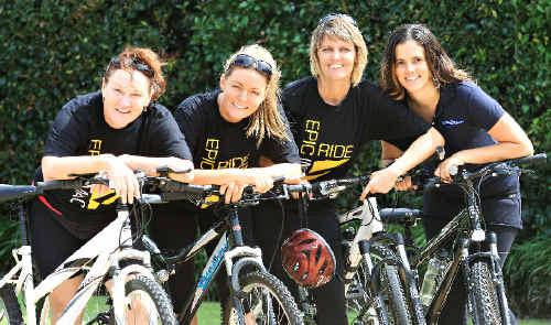 Karen Burke, Tarnya Sim, Kathy McGarry and Tiana Dunstow after their fundraising ride.