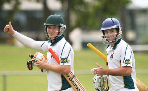 Tait Burns and Nick Gray celebrate Cudgen's semi-final victory yesterday.