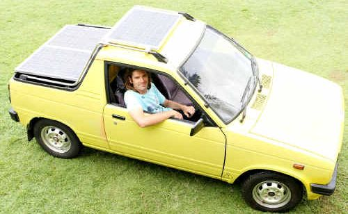 Ayden Van Andel has converted his Suzuki Mighty Boy into a solar electric car. The car has a top speed of 65kmh and a range of 60km.
