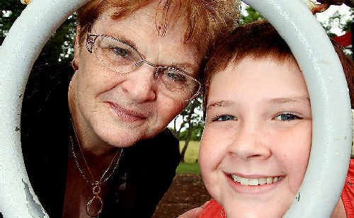 Jean Dudgeon and her grandson Bailey Hurley-Ables.