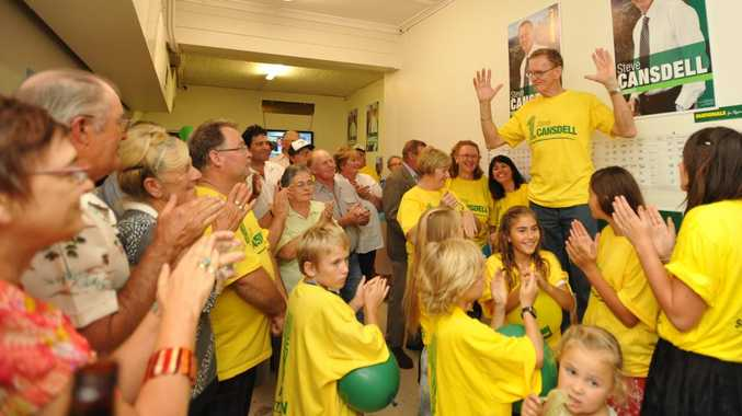 Steve Cansdell celebrates his election win with supporters.