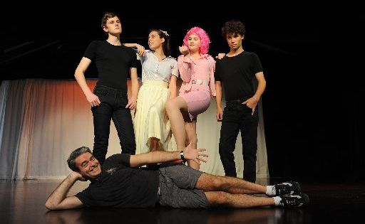 Mathew Flinder College stage production of Grease the Musical. Director Dale Pengally, with students (l-r) Christian Heijkoop, Holly Daniels, Zanthe Wilton and Tom Wilson. Photo Che Chapman / Sunshine Coast Daily
