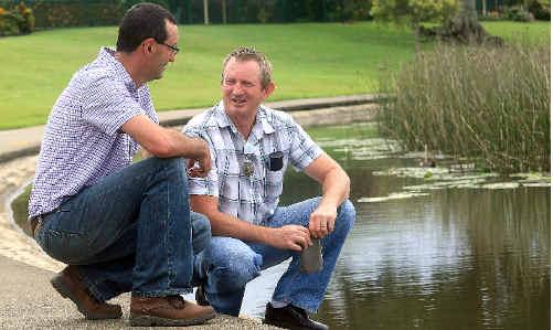 Environmental protection officers Stuart Auston and Robert Donohoe at Lake Kimberley.