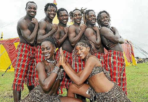 Loritz Circus Royal Kenyan acrobats (back from left) Elviis Mumbo, Eric Ondiege, Geoffrey Odindo, Peter Ndungu, Victor Ordindo and Elvis Orindo; (front): Josephine Odhiambo and Pelargiah Ndirangu.