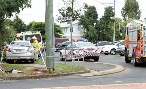 The silver Nissan ploughed through a guard rail and came to a stop on the grass.
