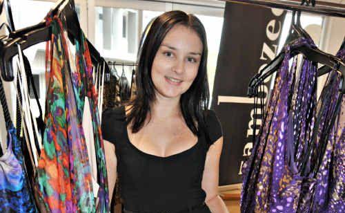 Sarah Chapman checks out some Sacha Drake dresses at the Sunshine Coast Business Expo.
