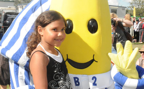 ALEAKA WASSON FROM Postmans Ridge got up close and personal with the Bananas in Pyjamas.