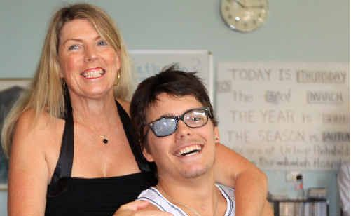 Sam Ford with mum Margaret Ford on his release from Murwillumbah District Hospital.