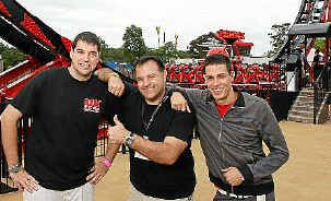 Trying out the new Aussie World Giant Redback ride are Nolan Libero (left), Robb Alvey and Douglas Akers.
