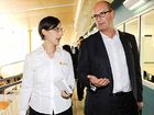 Sunshine Coast Daily business editor Rebecca Marshall chats with David Koch after a forum at the business expo.