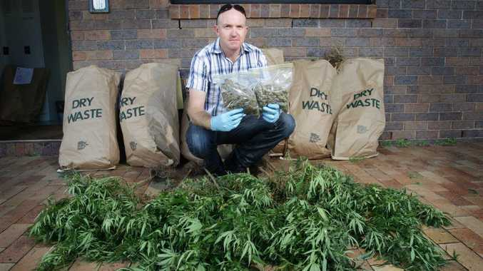 Senior Constable Dave McCarthy of the Sunshine Coast Tactical Crime squad with some drugs that were seized in hinterland raids.