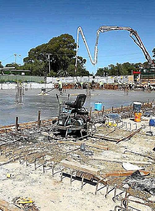 The big pour for the underfloor car park of a new Coles supermarket.