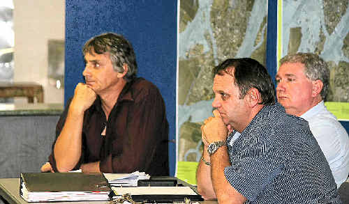 Mayor Peter Maguire (right) says the Central Highlands Regional Council will take on board community input heard at Monday night's Flood Information Session.