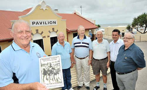 Metropolitan Caloundra Surf Life Saving Club old-timers (from left) Des Dwyer, Harvey Orrell, Graham Ritchie and Alastair Duncan at the book launch.
