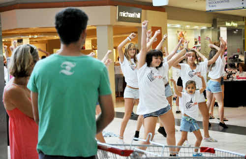 The performers in action at Centro Toormina shopping centre on Saturday.