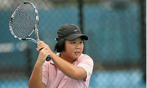 Olivia Tjandramulia competes in the final of the Queensland Secondary School Tennis Championships at Victoria Park yesterday and will meet Mitchell Harper in another final tomorrow.