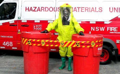 Brian Donachie in the hazmat suit.