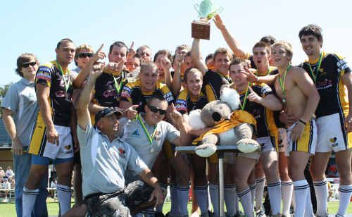 The South Tweed Koalas' under-19 premiership-winning side of 2009 celebrating one of the highlights of the club's recent history.