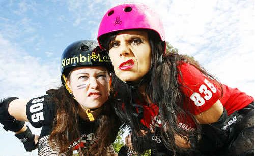 Jess 'Slambi Lauper' Fletcher from the City Sirens will be up against Karen 'Razza Makazz' Galea from the Missfits in Ipswich's first roller derby bout on Sunday.