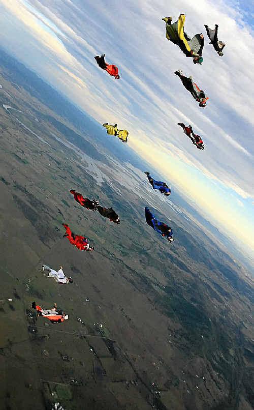 Elite Wingsuit Skydivers in action in the skies above Brisbane recently.