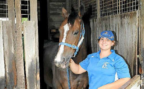 Strapper Cherie Vick with Craiglea Pursuit at the race club.