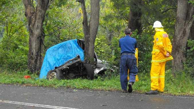 The scene of a fatal single-vehicle crash on Kyogle Road, 2km out of Cawongla.