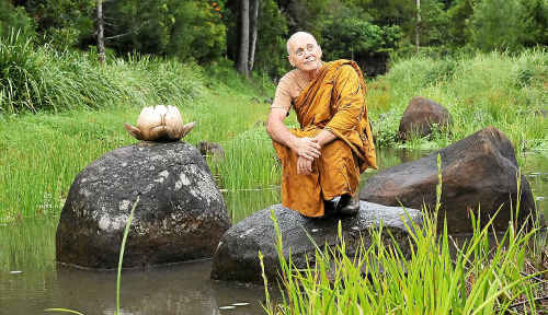 Buddhist monk the venerable Penerable Pannyavaro at the Bodhi Tree Forest Monastery and Retreat centre at Tullera.