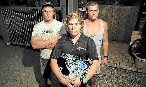 Sam Meville (centre) is happy to have his van back but disappointed brothers Jesse and Jock are still without their motorbikes.