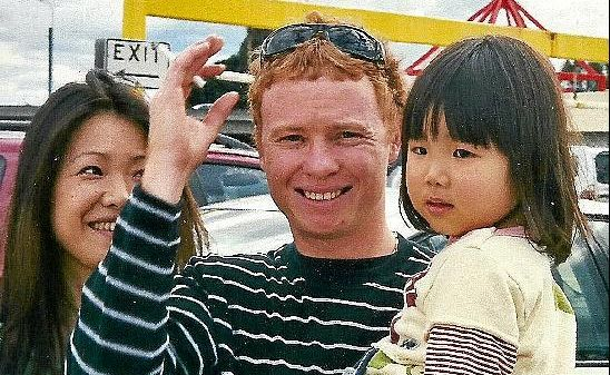 Nick Wilson with wife Shizuka and step daughter Laia in Surfers Paradise