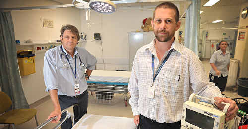 District director of Emergency Medicine Dr Stephen Priestley (left) and acting nurse director of District Emergency Services Barry McCarthy want the public to know the truth.