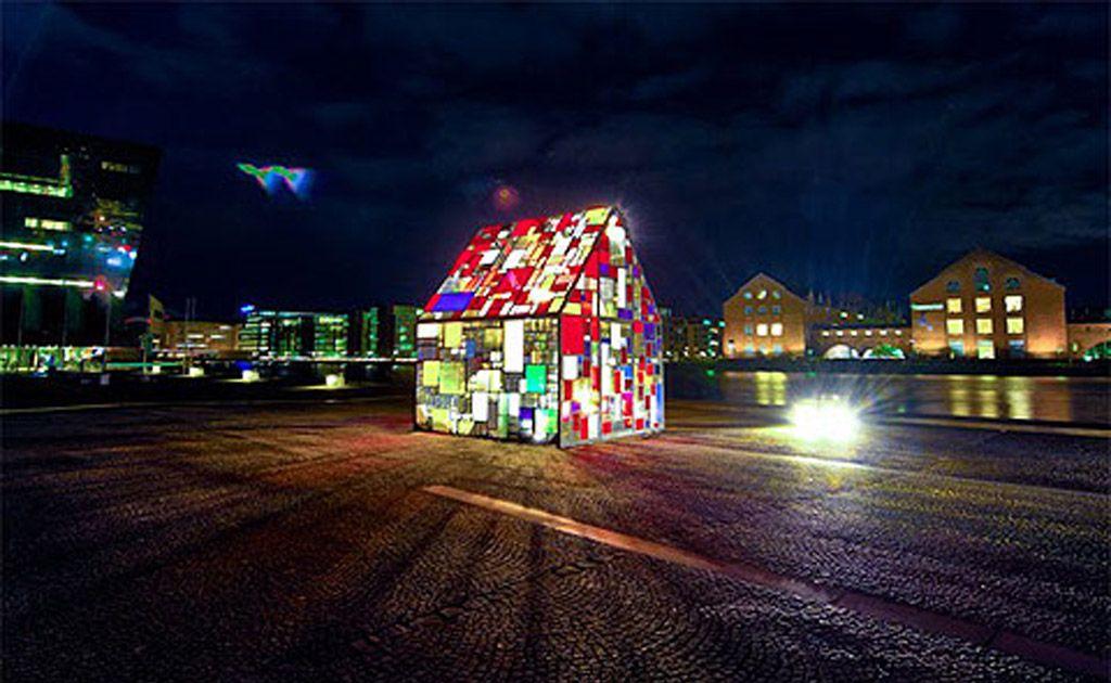 The Kolonihavehus, which is made from reclaimed plexiglass found in dumpsters in Copenhagen.