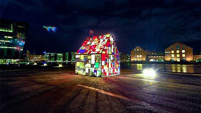 The Kolonihavehus, which is made from reclaimed plexiglass found in dumpsters in Copenhagen.