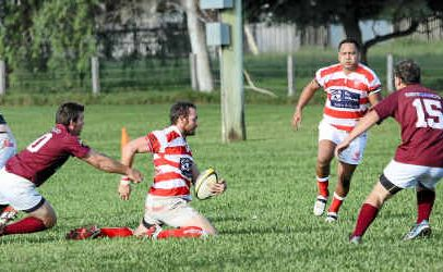 Redmen's Scott Lloyd gives his all during Saturday's match against Kyogle at Rugby Park.
