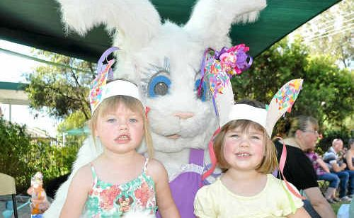 Jayda and Alannah Hattersley with the Easter Bunny at the Warwick Community Kindergarten.