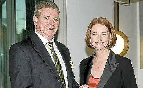 Bendigo and Adelaide Bank managing director Mike Hirst and Prime Minister Julia Gillard.