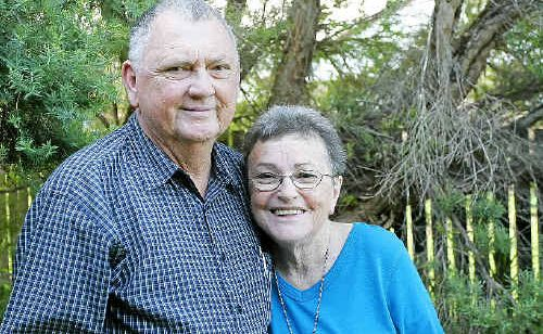 Lyle Dobbs and wife Margaret at their home where Lyle was presented with the National Medal Clasp and the SES Meritorious Medal Clasp to mark 35 years service.