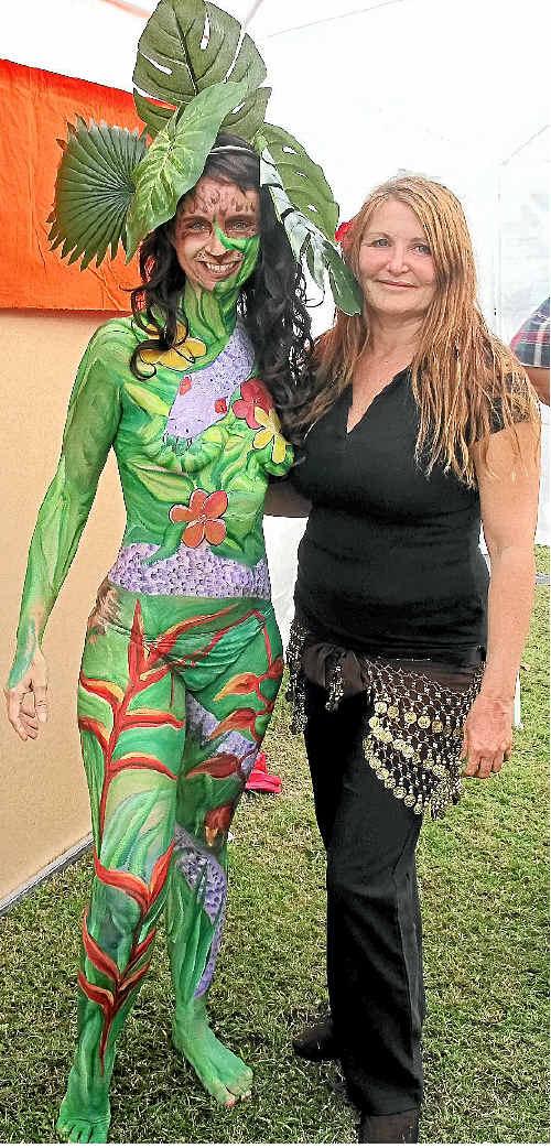 Australian Body Art Carnivale entrant Donna Pottinger (left) with artist Tina Louise Sawyer.