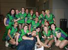 Toowoomba City Rollers celebrate their recent win against Brisbane team the Ferals.