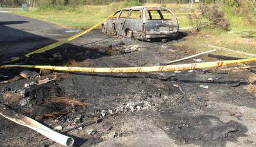 A Holden Commodore station wagon was one of two cars torched in Yamba in the early hours of Sunday, February 14 last year.