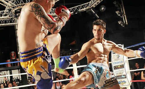 Corporate Box Gym's Lucas Beaujeu repeatedly found the leg of Adam Hagedorn's on Saturday to end his challenge.