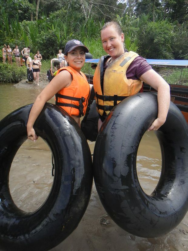 Getting ready to tube the Napo River.