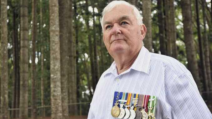 Major General John W Kingston Am, Ret'd. at the site of Buderim ANZAC day service at Buderim Mountain School. Photo: Greg Miller / Sunshine Coast Daily